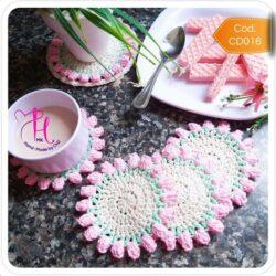 Set de Porta Vasos Crochet Tulipán Rosa